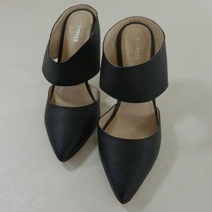 Express Womens Black High Heel Mules Slide Pumps